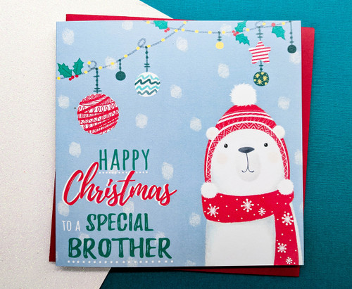 Brother Christmas Card Hand Drawn Polar Bear