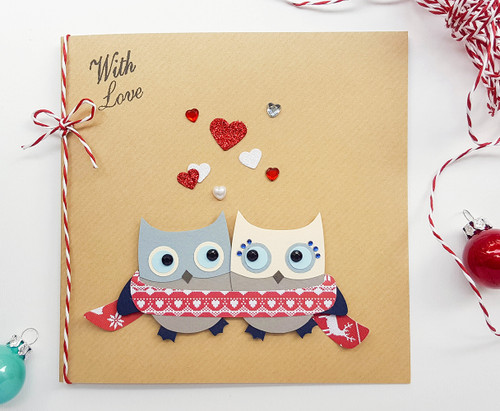 Romantic Christmas Card handmade cute owls