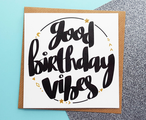 good birthday vibes card hand drawn