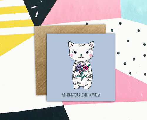 cute cat drawing birthday card