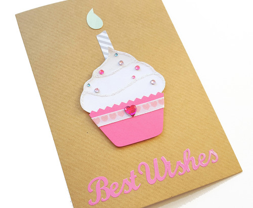 Pink Cupcake Handmade Birthday Card
