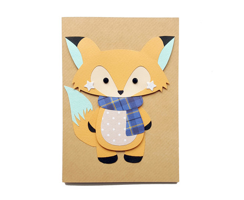Handmade Fox Birthday Card