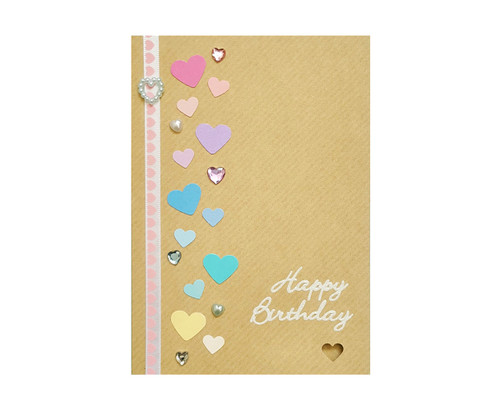 Rainbow Hearts Handmade Birthday Card