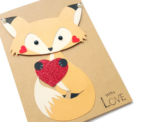 Handmade Anniversary Card Cute Fox
