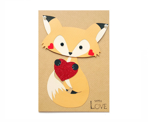 Personalised Anniversary Card Handmade Fox