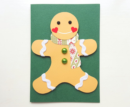 handmade christmas gingerbread man card - green