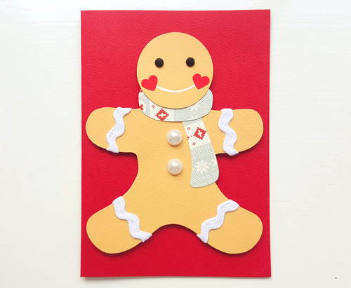 handmade christmas gingerbread man card - red