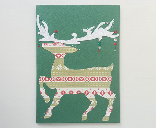 handmade christmas reindeer card prancer