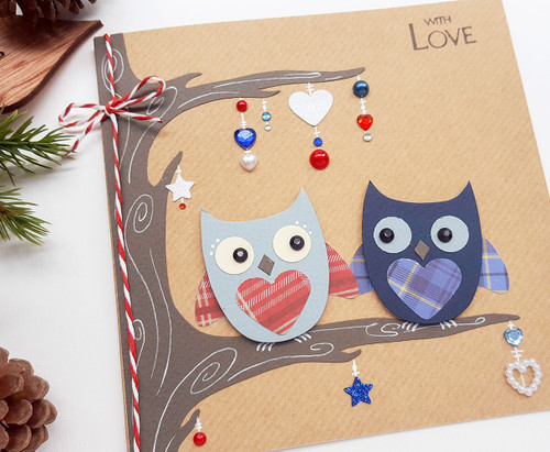 handmade romantic Christmas card cute owls