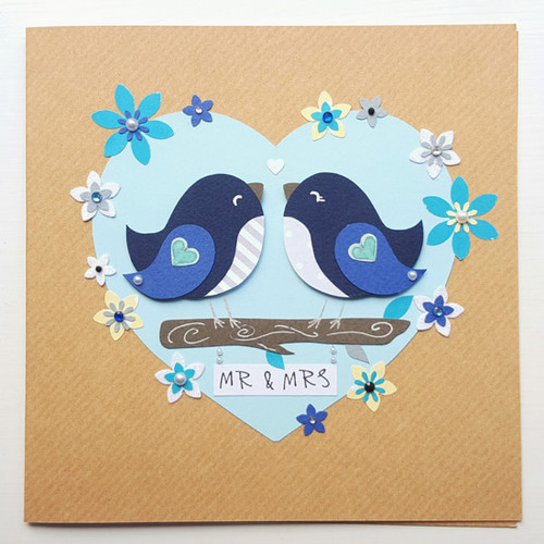 Personalised Floral Heart Love Birds Wedding Card