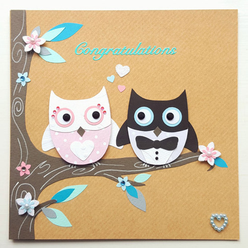 Personalised Mr & Mrs Owl Wedding Card