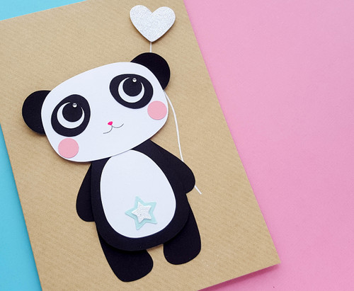 Panda birthday card handmade makuko