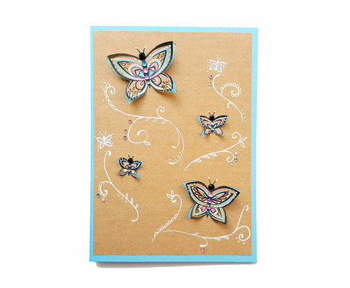 Butterflies Birthday Card Hand Drawn