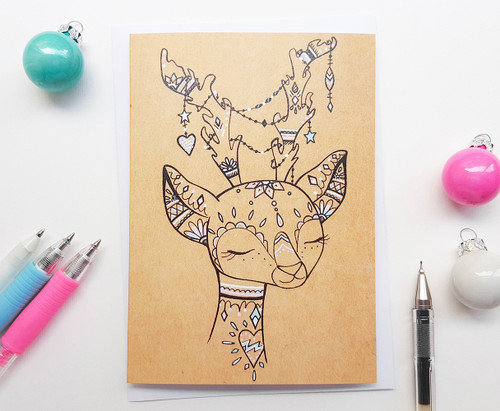 Hand Drawn Deer Christmas Card