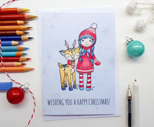 Cute Christmas Card Hand Drawn