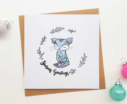 Hand Drawn Squirrel Christmas Card