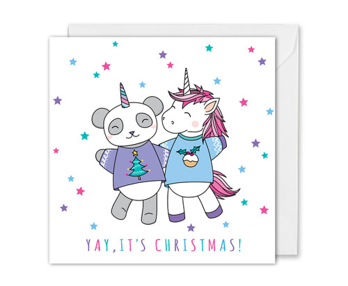 Panda and Unicorn Christmas Card Cute