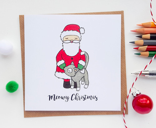 Santa and Cat Christmas Card