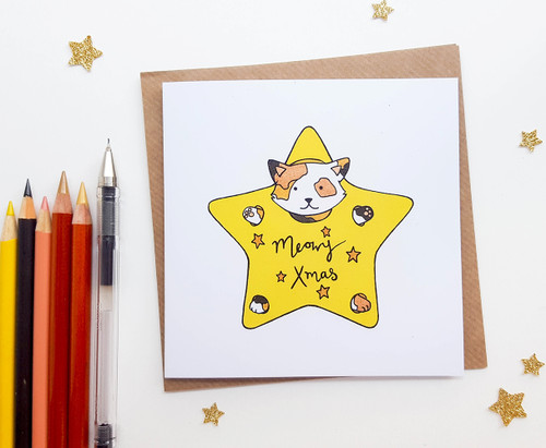 Cute Cat Christmas Card Hand Drawn