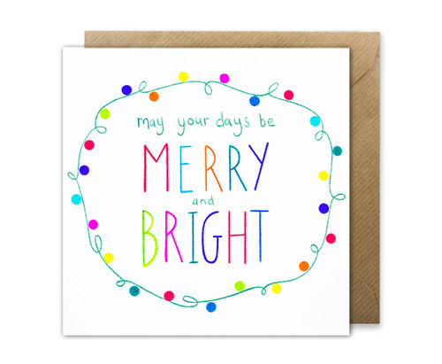 Merry & Bright Christmas greetings card