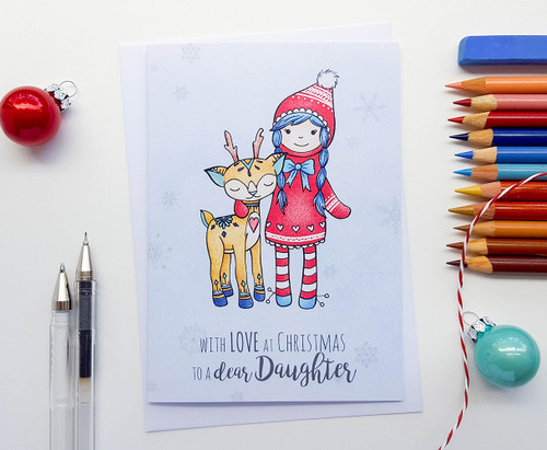 Daughter Christmas Card Cute Deer