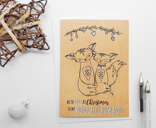 Husband Christmas Card Romantic Hand Drawn Foxes
