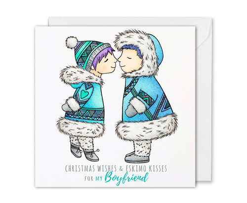 Boyfriend Christmas Card Eskimo Kisses