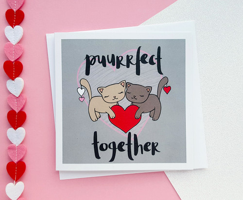 Punny Anniversary Card Cute Cats