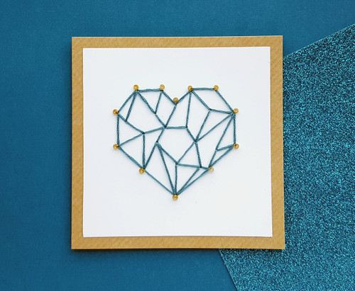 Handmade Anniversary Card Thread Heart