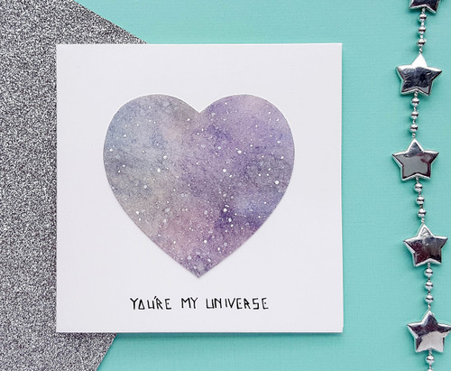 Personalised Handpainted Galaxy Heart Card