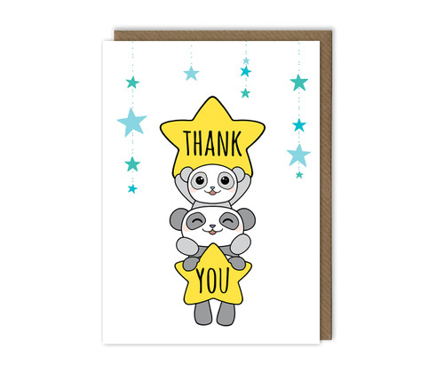 Cute Thank You Card Kawaii Pandas