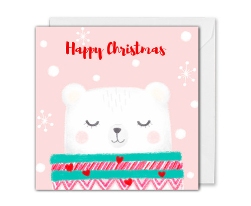 Cute Polar Bear Christmas Card Pink - For Her