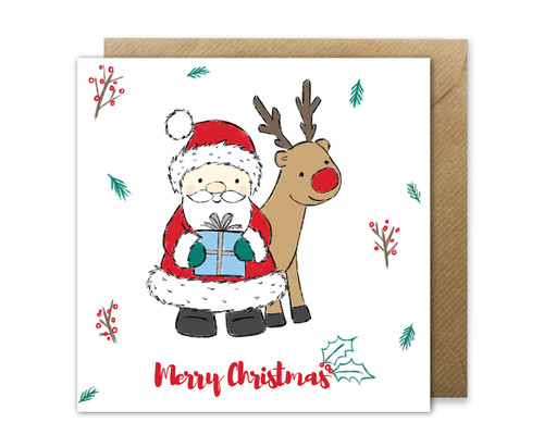 Santa and Rudolph Christmas Card