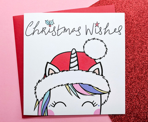 Cute Unicorn Christmas Card Hand Drawn