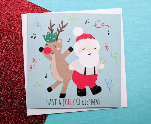 Fun Santa and Rudolph Christmas Card
