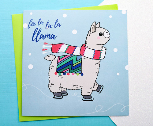 Funny Llama Christmas Card Hand Drawn