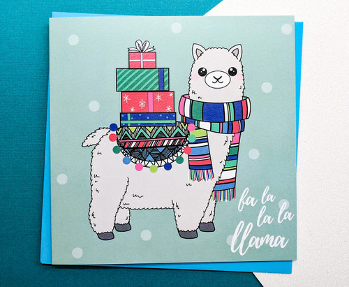 Llama Christmas Card Hand Drawn