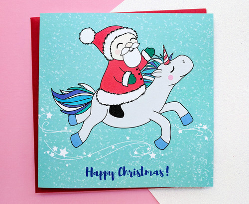 Santa and Unicorn Christmas Card Kawaii