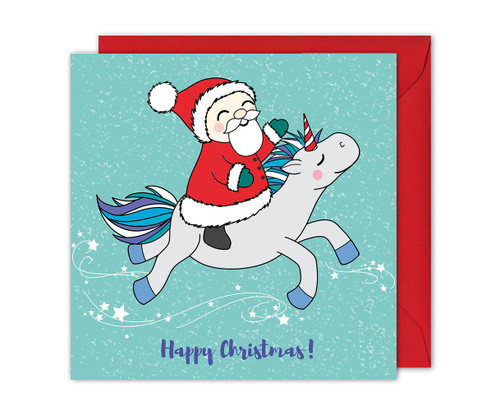 Santa and Unicorn Christmas Card