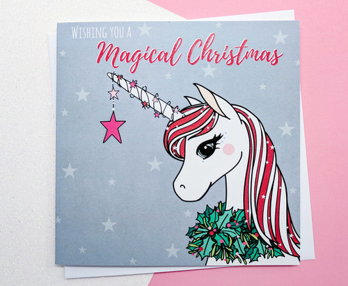 Christmas Unicorn Card Hand Drawn