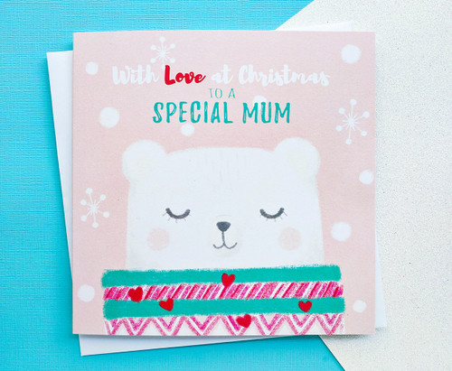 Mum Christmas Card Cute Polar Bear Drawing