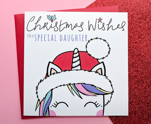 Daughter Christmas Card Magical Unicorn