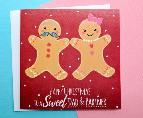 Christmas Card for Dad and Partner Gingerbread Couple