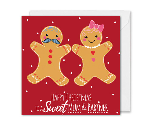 Mum and Partner Christmas card gingerbread couple