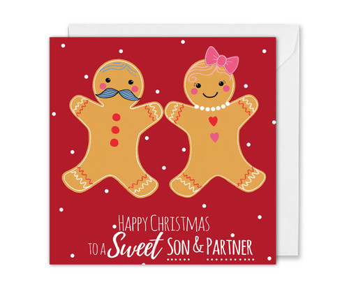 Fun Christmas card for Son and Partner Gingerbread couple