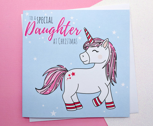 Daughter Christmas Card Unicorn
