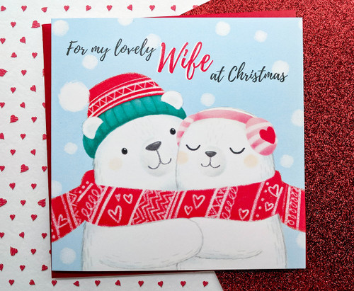 Wife Christmas Card Cute Polar Bears