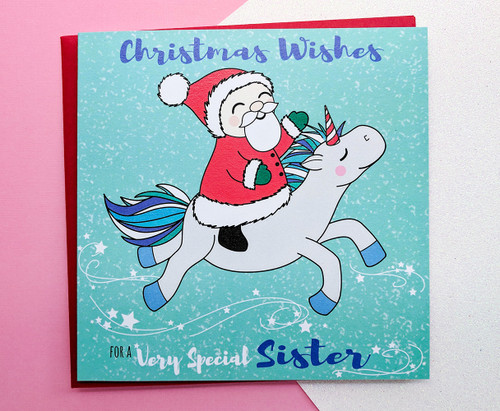 Sister Christmas Card Unicorn and Santa