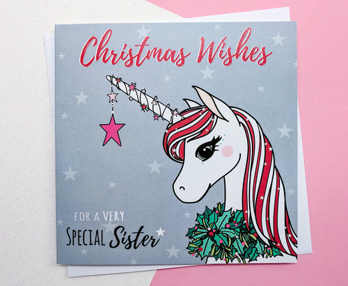 Sister Christmas Card Cute Unicorn