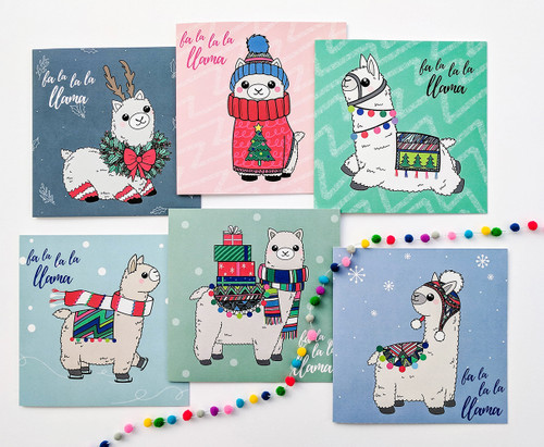 Christmas Llamas Handmade Cards Set